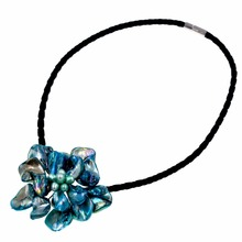 blue pearls and turquoises baroque mother of pearl shell flower pendant necklace(China)