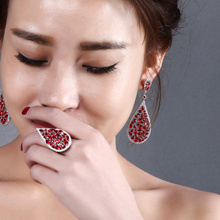 Nice earing set Buy bulk china Elegant ring designs Colorful zircon drop earrings Party wedding jewellery sets for women