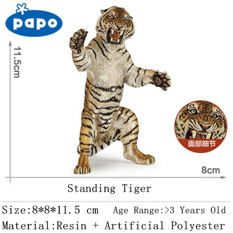 Papo Brand Simulation Animal Model Natural Resin Standing Tiger Kids Toys Action Figures Best Gift Decoration for Adult On Sale <br>