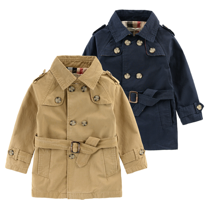 Boys Double-Breasted Trench Coat England Style Spring  Autumn New Childrens Clothing Cotton Kids Fashion Jacket Good Quality!<br><br>Aliexpress