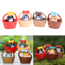 Hot Sale 1pcs 3.5*3.2cm Garden Ornament Miniature Figurine Resin Fairy Dollhouse Mini Cat Pet Statue Random color(China)