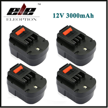 Eleoption 4x 12V 3000mAh NI-MH Replacement Power Tool Battery For Black&Decker A12, A12-XJ, A12EX, FS120B, FSB12, HPB12 12 Volt(China)