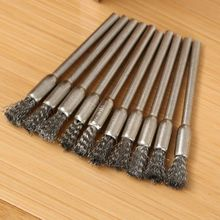 10Pcs 5mm Steel Wire drill Brushes dremel accessories polishing Brush dremel tools accessories for Mini drill burr brushed wheel(China)