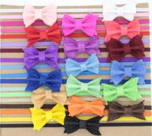 240pcs/lot Felt Bow Skinny Elastic Headband for Baby Children Adult Flower Hairband Hair Accessory DHL Free Shipping(China)