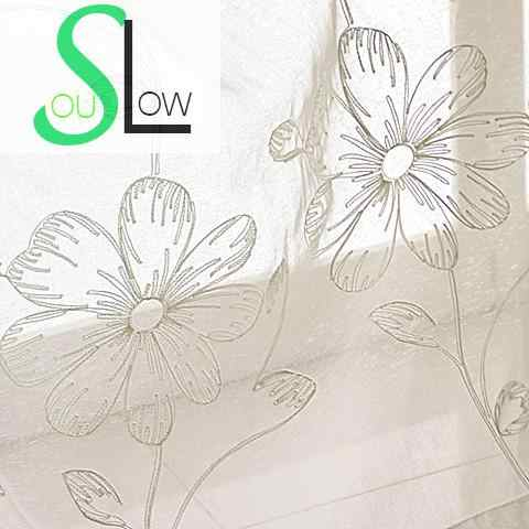 Slow Soul White French Window Embroidered Pastoral Curtain  Flower Cotton Kitchen Curtains Tulle For Bedroom Living Room Sheer