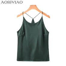 Buy AOSSVIAO Tank Top Women Camis Roupas Slik 2018 Summer Style Sexy Female Solid Sleeveless Camisole Sexy White Halter Crop Tops