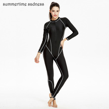 Classic Black Swimming Suit Quick Dry Triatlon Suit Windsurfing Clothes long-sleeved Full Body Swimsuit Slender Swimwear Women