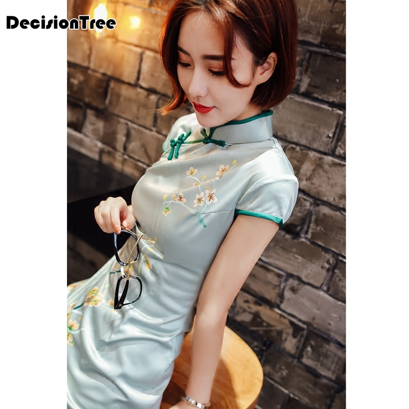 2019 summer cheongsam vintage chinese women elegant dress silk white embroidery short qipao evening vestidos cheongsam