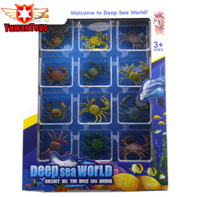12PCS/Set Original box Plastic Marine Animal Figures Ocean Creatures Sea Life Sea World Model Delicate Kids Toy Christmas Gift(China)