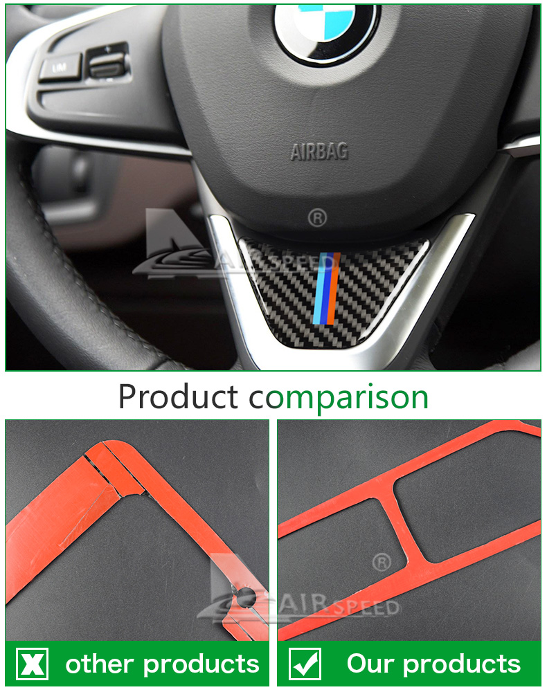 for BMW X1 F48 2016 Carbon Fiber Car Steering Wheel Stickers M Sport for 1 Series F52 F45 F46 Accessories Car Styling (7)