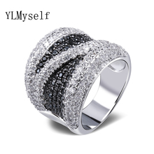 2017 Wide black and white cubic zirconia Finger ring Trendy Wholesale Jewelry Gorgeous Copper metal Fashion Large Rings(China)