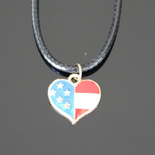 Fashion American Flag Colored Heart Pendant Necklace Leather Statement For Women Jewelry Accessories Bijoux Wholesale NA849(China)
