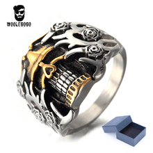 Exaggerated Flower Skull Rings Men Stainless Steel Gold Skeleton Silver Man Ring Vintage Biker Male Finger Rings Dropshipping(China)