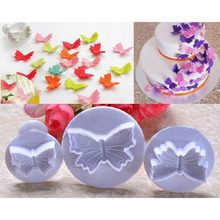 3Pcs/Set Butterfly Shape Fondant Cake Cookie Sugarcraft Plunger Cutters Mold Tools Christmas Cake Decorating Tools Free Shipping