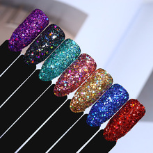 2g Holographic Nail Sequins Multi-Size Hexagon Colorful Shiny Nail Flakies Glitter Powder for UV Gel Nail Manicure(China)