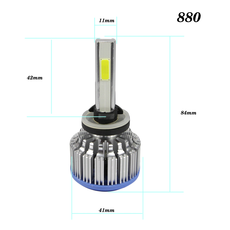 2PCS 9005 9006 H1 H3 H4 H7 H11 880 COB LED Headlight 8000lm 72w 6000K Car Front Bulb Dipped High Beam Fog Lamp Car light