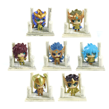 7pcs Saint Seiya Gold Saint PVC Action Figure Set Knights of the Zodiac Toy Japanese Anime Model Figure Second Edition