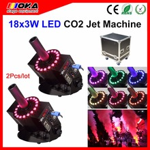 2PCS/lot Flight Case DMX512 LED 18 LEDs Cryo Special Effects And Co2 Stage FX Effects Jet Systems Power Co2 Jet Machine Product(China)
