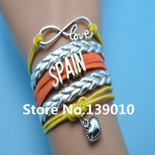 Infinity Love Spain Heart Bracelets Silver Orange Yellow Leather Suede Rope Cuff Customize Women Men Football Team Sport Bangles