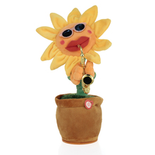 Singing&Dancing Flower Enchanting Sunflower with Saxophone Soft Stuffed Plush Toys Funny Electric Toys for Kids Christmas Gift(China)