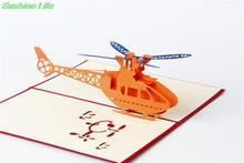 10pcs/lot Unique plane design Handmade 3D Pop UP Greeting Cards kirigami origami invitation gifts for child home decor(China)