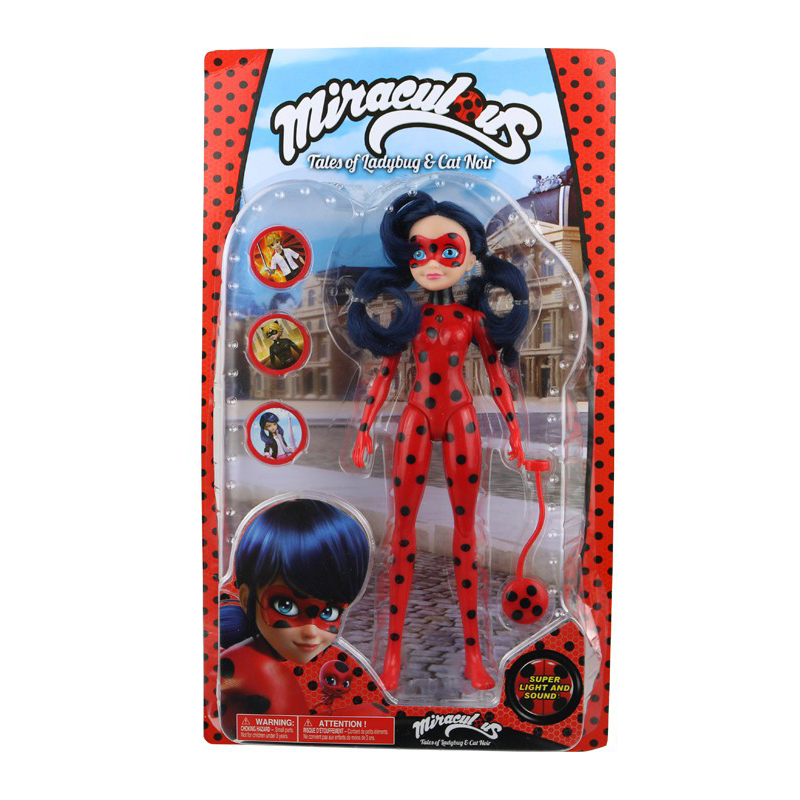 27cm Miraculous Ladybug Action Figures with Light and Music Comic Movable Joints Ladybug Girl Doll PVC Model Toys Kids Gift<br>