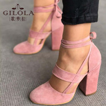 Fashion High Heels Women Pumps Platform Women Shoes Lace Up Shoes Woman Best Quality Thin Heels Black Pink #Y0617019Q(China)