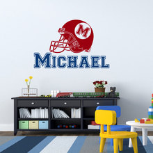 Custom Made Name Wall Sticker American Football Hat baby Decals Bedroom Decoration Stickers Boys Kids Room Personalzied NY-270