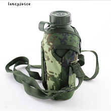 Warm fluff bag+aluminum bottle 1L polymer army military camping water canteen water bottle kettle(China)