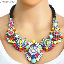 Ufavoirte Exaggerated Weave Knitting Necklace Crystal Flower Pendants Statement Necklace Fashion Jewelry Women Gift Accessories