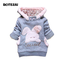 2015 Retail Children Clothing Cartoon Rabbit Fleece Outerwear girl fashion clothes/hooded jacket/Winter Coat roupa infantil