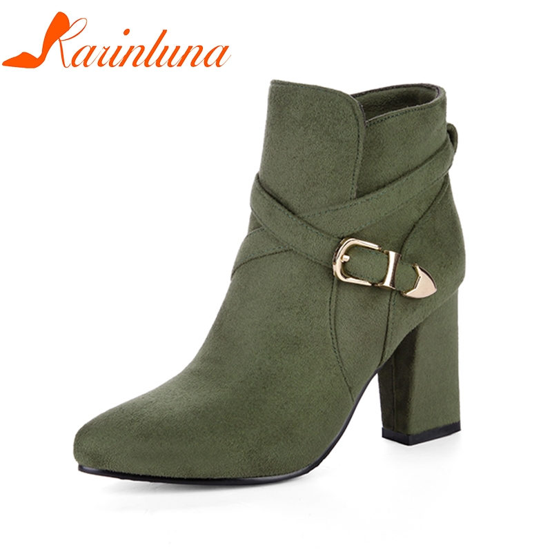 KARINLUNA 2018 Large Size 32-43 Square High Heels Woman Ankle Boots Fashoin British Style Autumn Winter Shoes Boot Women