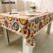 GIANTEX Bohemian National Wind Decorative Table Cloth Cotton Linen Lace Tablecloth Dining Table Cover Kitchen Home Decor U0997(China)