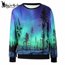 [You're My Secret] 2017 Autumn Fashion Women Hoody Galaxy Aurora 3D Printed Black Milk Women Sportsuit WYS1106