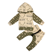 2pcs Newborn Baby Boys Hoodie Hooded Sweater Tops Pants Outfits Set Clothes Infnat Toddler Boy Print Warm Long Sleeve Clothing(China)
