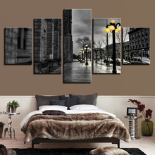 Canvas Painting Wall Art Framework Home Decor 5 Pieces Black White London City Streetscape Pictures Living Room HD Prints Poster(China)