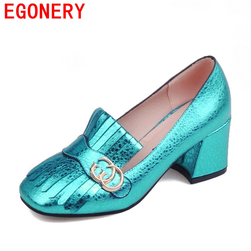 Spring Air Printed Faux Leather Square High Heels Toe Elegant Tassels Womens Pumps Shoe Woman<br><br>Aliexpress