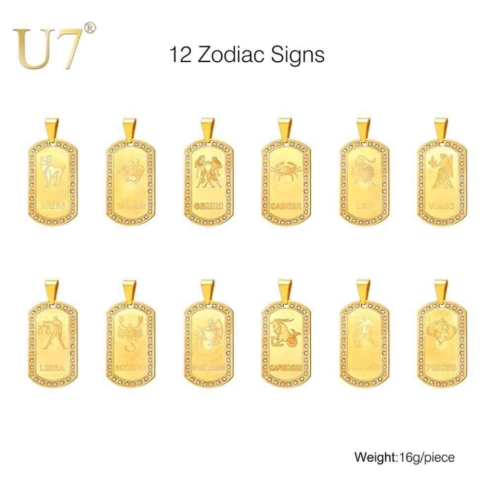 U7 Zodiac Signs Necklace For Men Women Best Friend Dog Tags Birthday Gift Gold Color