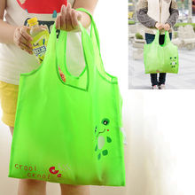 High Quality Portable Handbag Cute Green Frog strong Bag Tote Eco Storage Bag For home