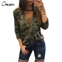 CWLSP 2017 Camouflage Fashion Women harajuku Sweatshirt Cross Tied Up Hoodies Pullover Long Sleeve womens hoodies QA1554