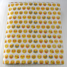 50*145CM emoji smile printed Polyester cotton fabric for Tissue Kids Bedding textile for Sewing Tilda Doll, DIY handmade ,1Yc800(China)