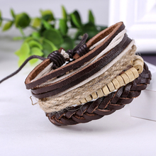 Buy Fashion Accessories Rope Wood Bead Leather Bracelets & Bangles 1 Sets Multilayer Braided Wristband Bracelet Men women Jewelry for $1.39 in AliExpress store