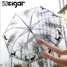 Transparent POE Animals Straight Umbrella Sun Parasol Windproof Waterproof Paraguas Semi-Auto Outdoor Rain Gear Supplies Unisex(China)