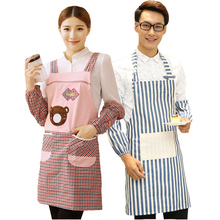 Korean fashion  lovely cotton kitchen aprons with sleeves adult household working wear oil overalls