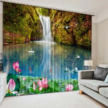 NoEnName_Null Lifelike Fresh Nature Pool 3D Printing Curtains Curtains full Shade Bedroom Living Room Curtains CL-035(China)
