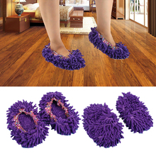 Home Shoes Floor Mop Floor Cleaning Tools Easy Mop Purple Lazy Soft Cleaning Slippers Housework Supplies(China)
