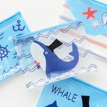 Creative Blue Sea Animals Whale Starfish Transparent PVC Document Bag File Folder Stationery Organizer(China)