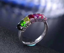 Natural multicolor tourmaline Ring S925 Silver Natural Gem Ring Fashion Elegant Personality line Women's party Rings Jewelry