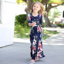 Kids Teens Clothes for Baby Girls Long Sleeve Party Dress Floral Print Navy Blue Pink Black Green Children Girl Beach Dresses(China)