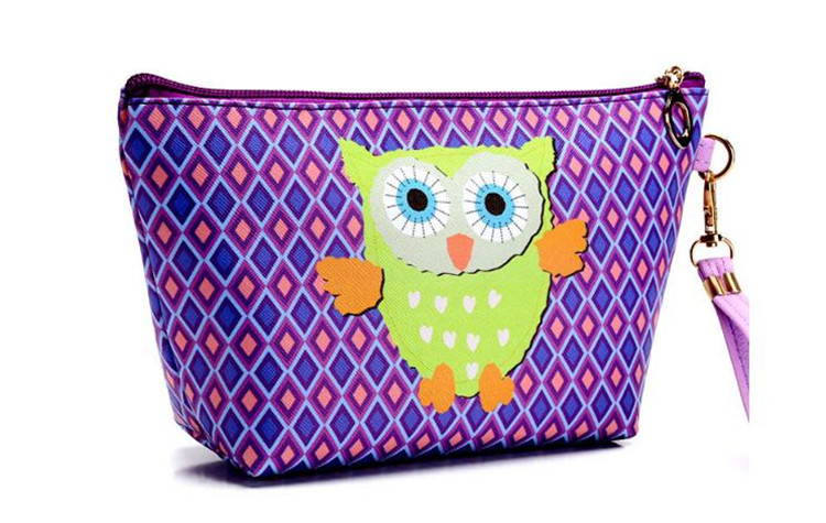 Women Cosmetic Cases Lady PU Leather Waterproof Makeup Bag Female Cute Animal Prints Cosmetic Bags Free Shipping